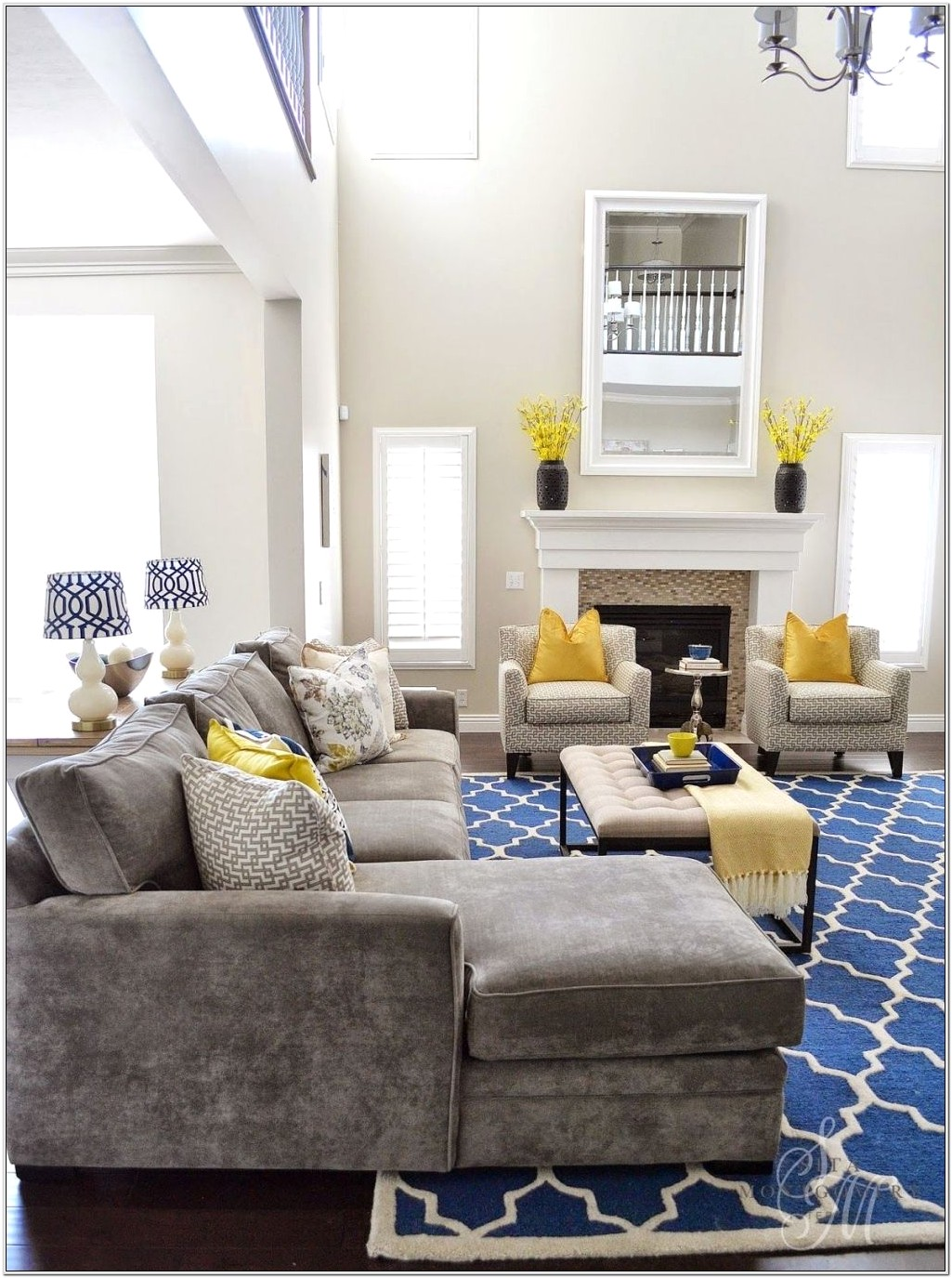 Navy Blue And Yellow Living Room Ideas
