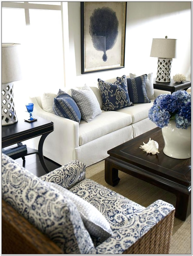 Navy Blue White Living Room Ideas
