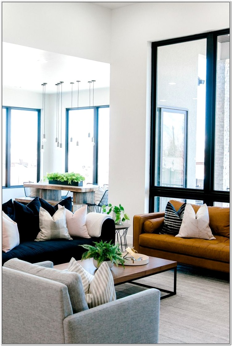 Navy Gray And Leather Living Room Ideas