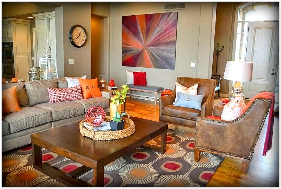 Orange Brown And Gray Living Room Ideas