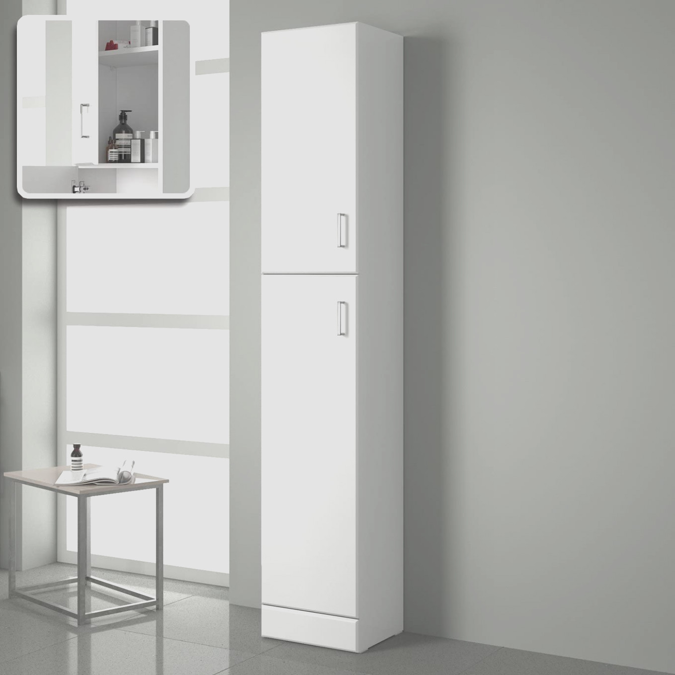 High Gloss White Tall Bathroom Cabinet