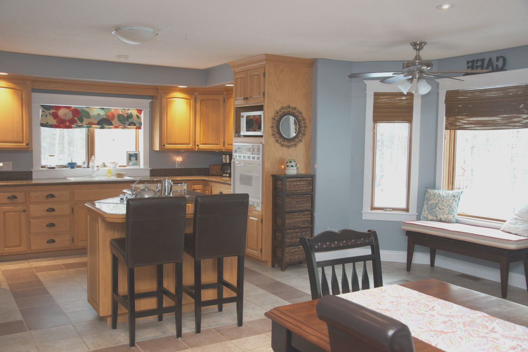 Light Oak Cabinets With Grey Walls