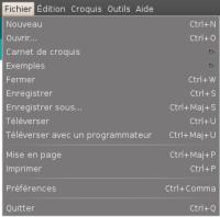 Arduino IDE - menu fichier