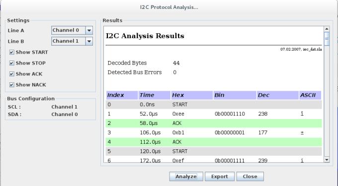 Analyseur de trames i2c
