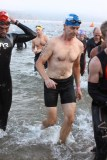 Mike exits the swim