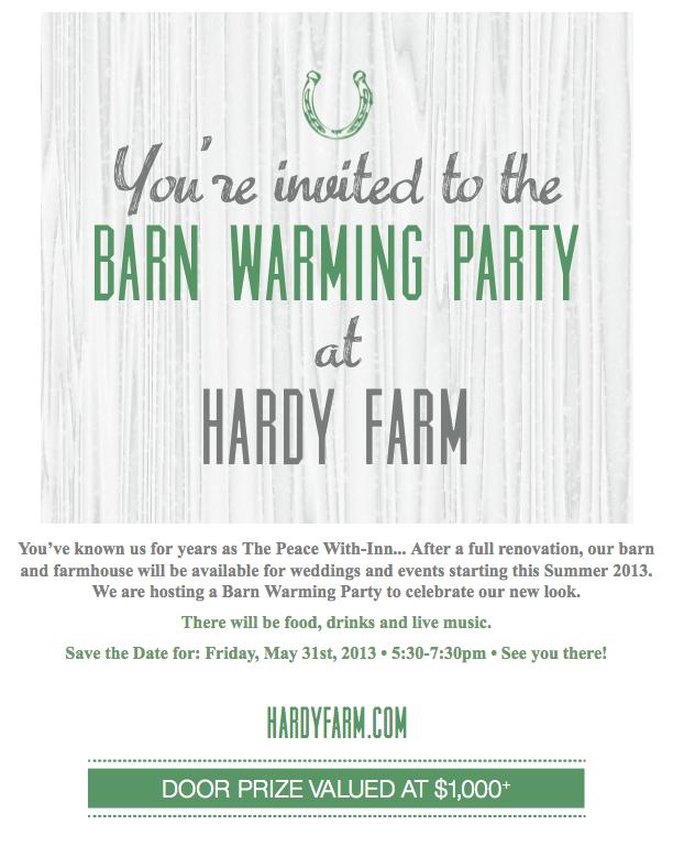 hardy farm barn warming