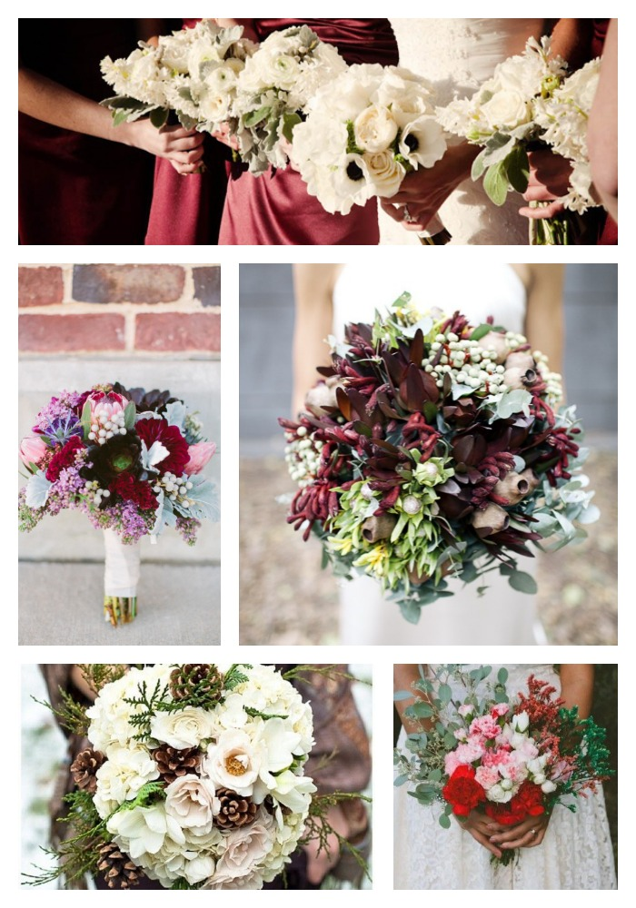 winter wedding bouquets in season
