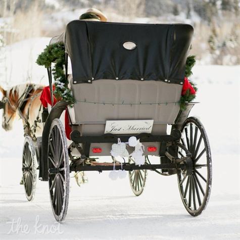 horse drawn carriage winter wedding transportation