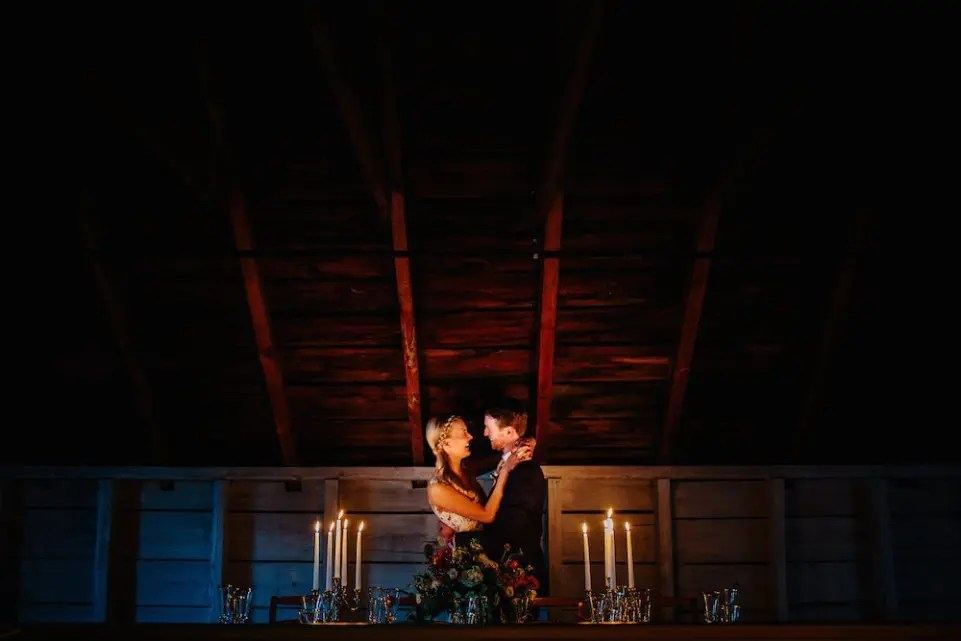 Romantic candlelit december wedding