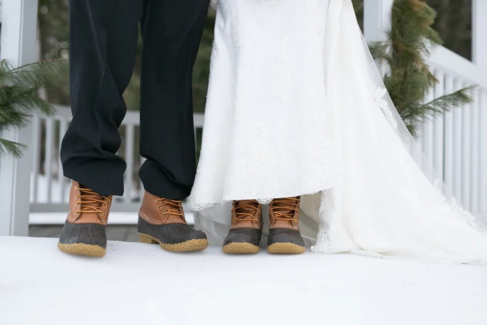Classic LL Bean Boots with Wedding Dress