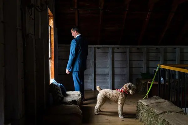 Groom with dog - wedding day
