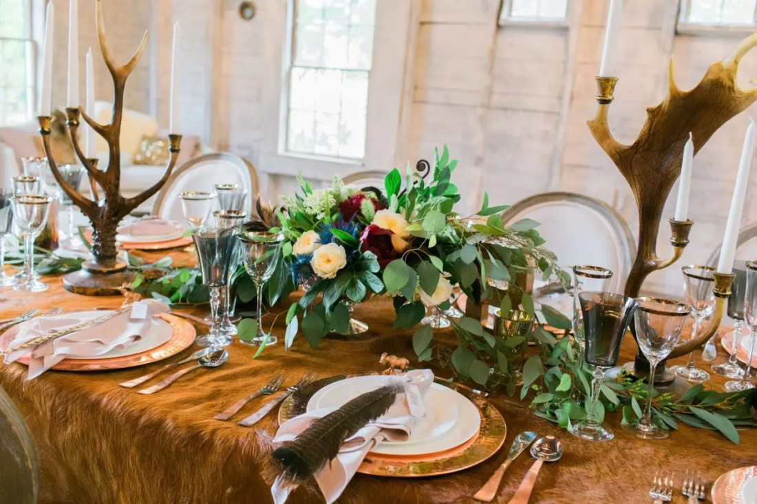 Copper table settings at weddings