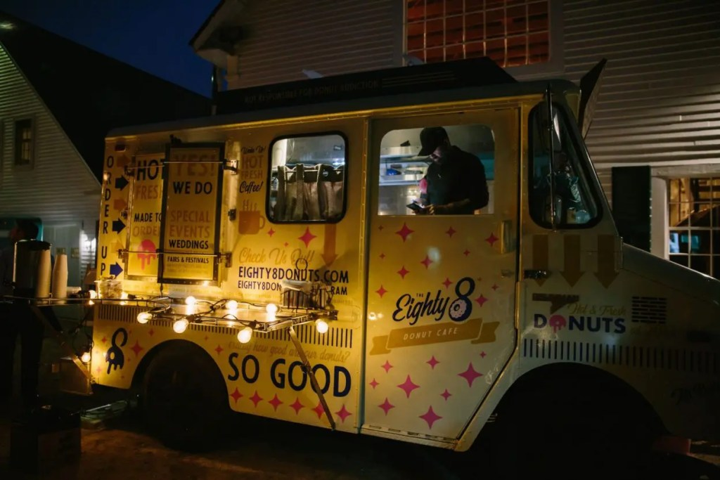 Donut truck at night