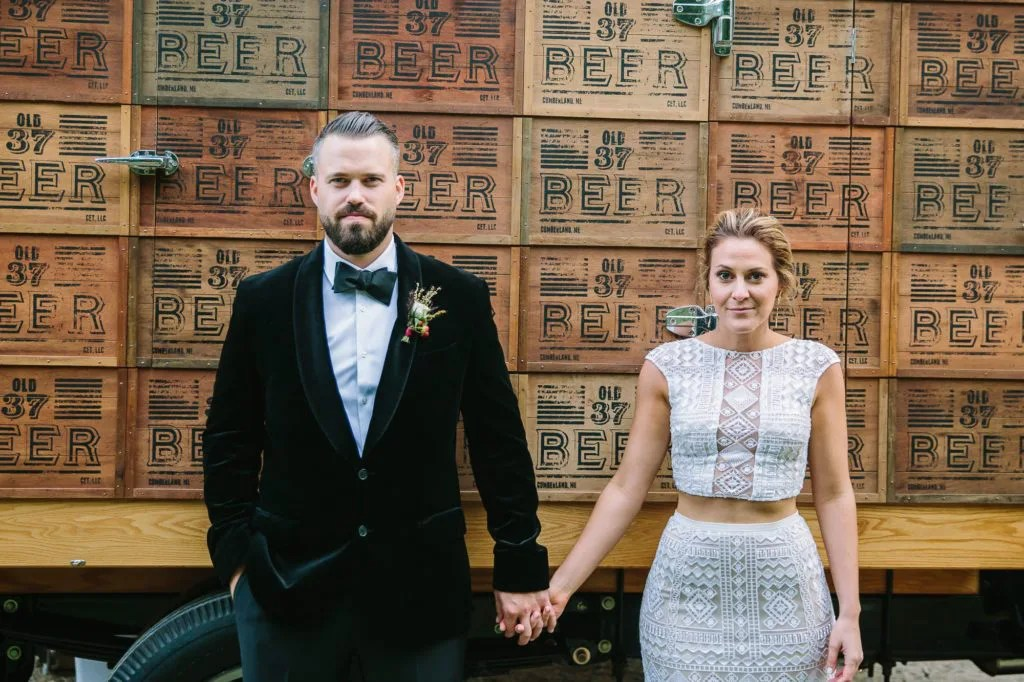 Bride and Groom in front of Maine beer truck