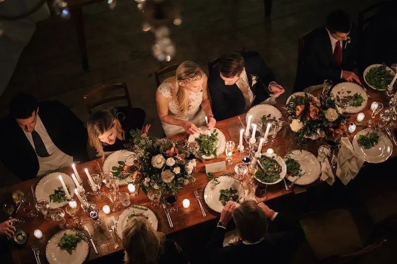 Family table at winter wedding