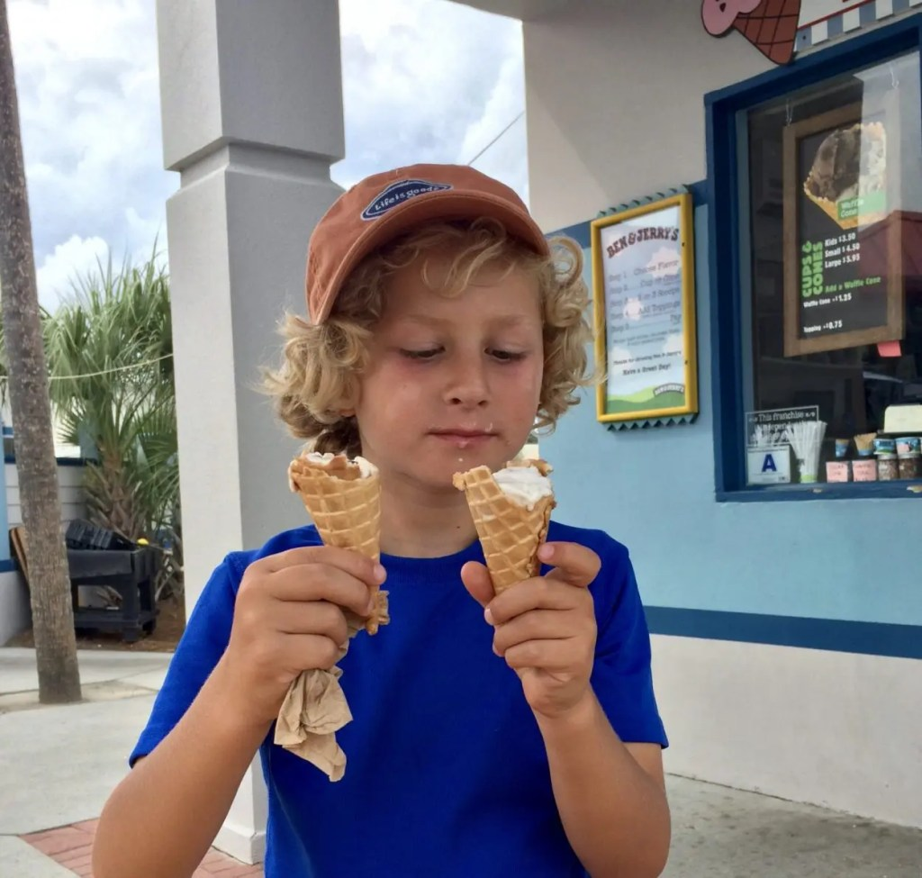 Our grandson eating Ben and Jerry's Ice Cream