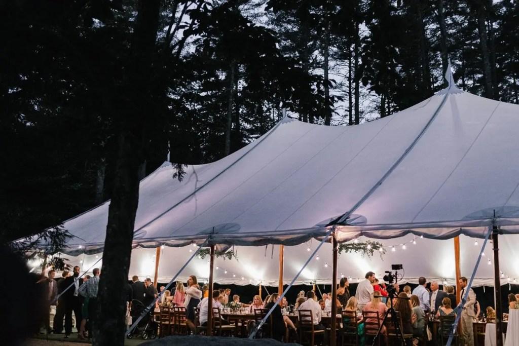 Sail cloth tent at night - Maine Wedding Venue