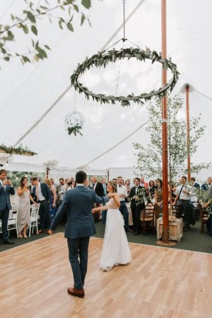 Maine wedding couple dancing in sail cloth tent