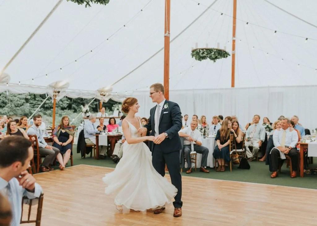 Dancing in a Maine wedding tent