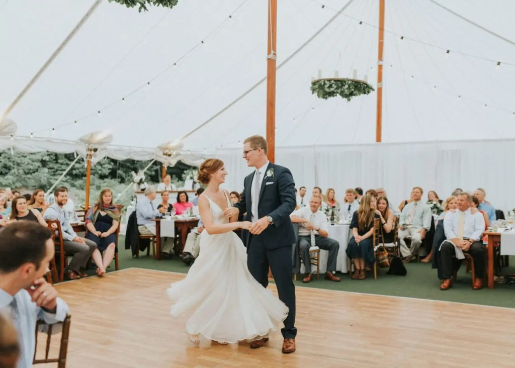 Dancing in a Maine wedding tent