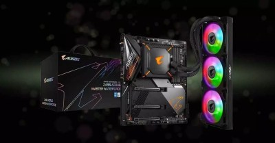 Gigabyte Z490 AORUS Masterboard boards, with integrated AIO heatsink