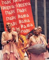 The Hare Krishna maha-mantra burns up all material desires and delivers transcendental love for Krishna. It makes one blissful just like the devotees in this picture. So start chanting now ...