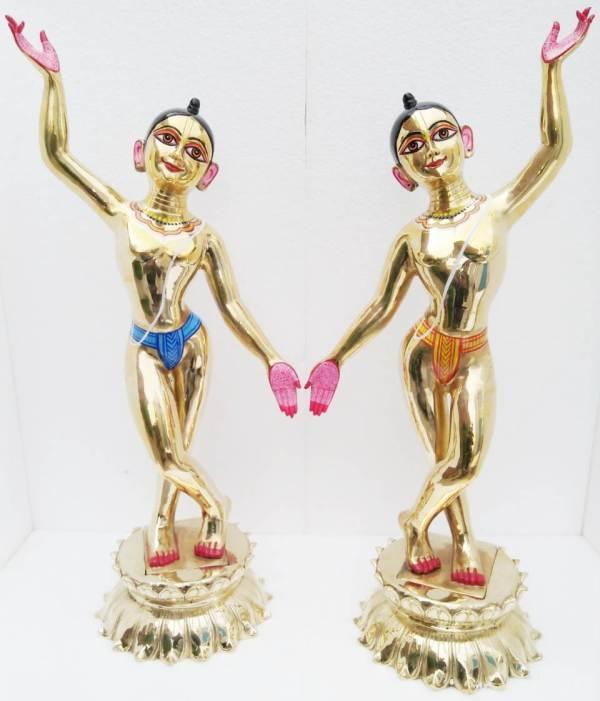 Gaura Nitai Metal Deities 30 Inches Original Asthadhatu Deity