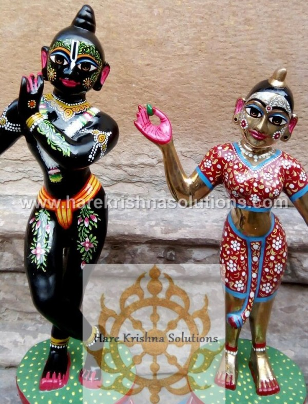Radha Krishna 12 Inches Black Red