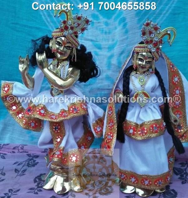 RadhaKrishna 12 inches White Dress (1)