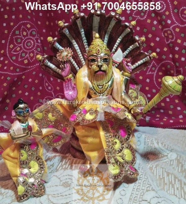 Prahalad Narasimha Dev 10 inches-Painted-Yellow Dress 5