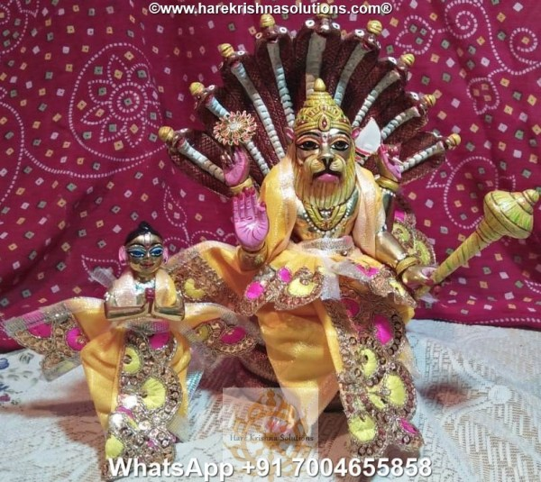 Prahalad Narasimha Dev 10 inches-Painted-Yellow Dress 4