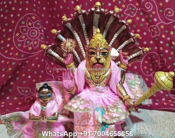 Prahalad Narasimha Dev 10 inches-Painted-Pink Dress 5