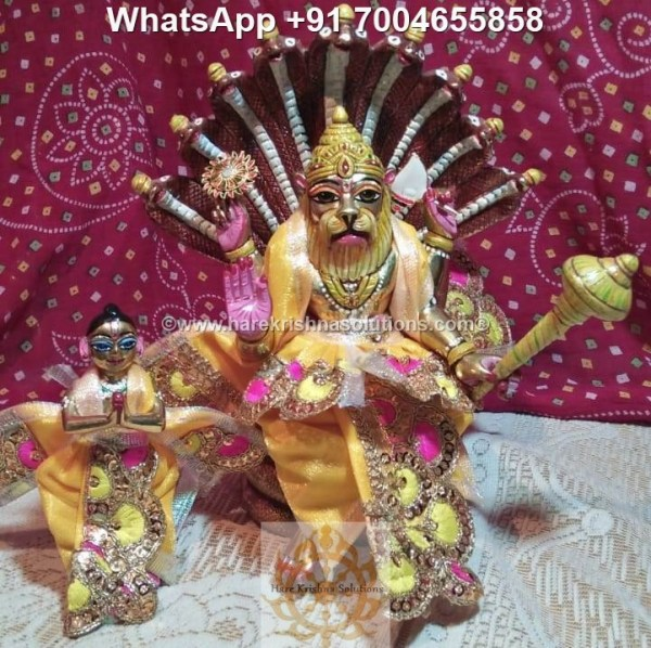 Prahalad Narasimha Dev 10 inches-Painted-Yellow Dress 3