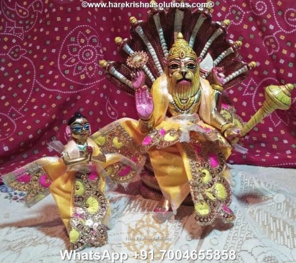 Prahalad Narasimha Dev 10 inches-Painted-Yellow Dress 1