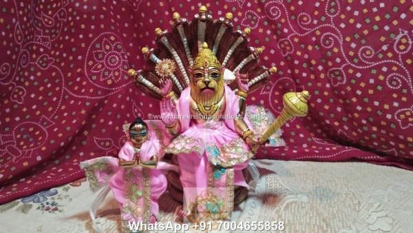 Prahalad Narasimha Dev 10 inches-Painted-Pink Dress 2