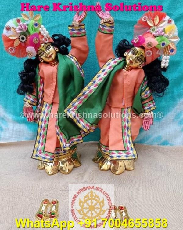 Gaura Nitai 12 SPL inches Orange Green Dress (1)