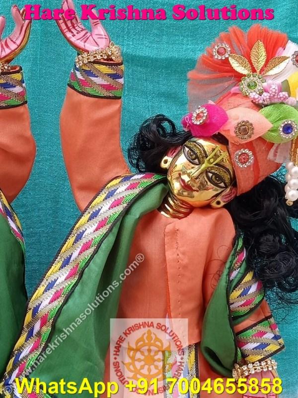 Gaura Nitai 12 SPL inches Orange Green Dress (7)