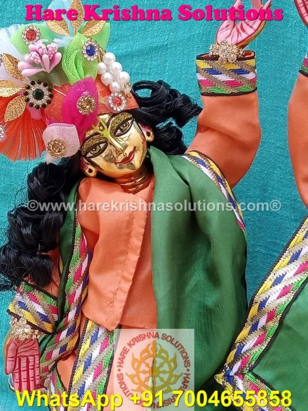 Gaura Nitai 12 SPL inches Orange Green Dress (8)