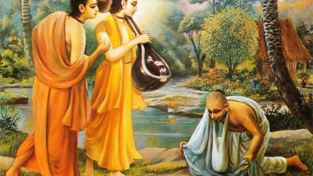 Narada-Muni-and-Parvata-Muni-Visit-Naradas-Hunter-Disciple