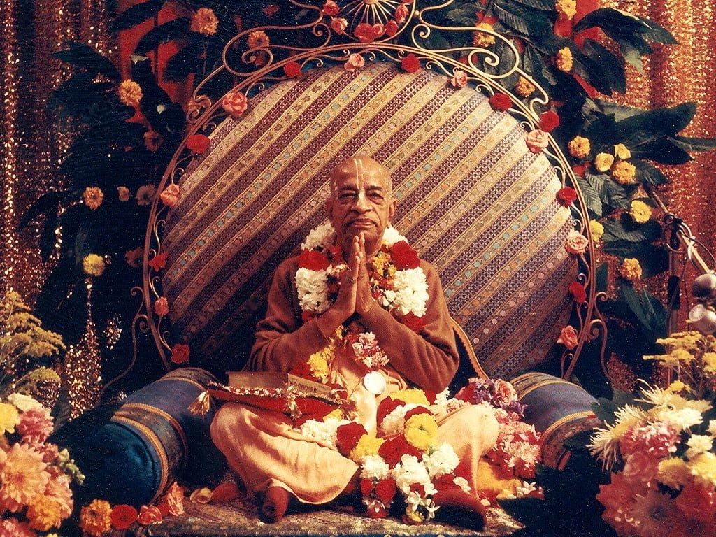 Srila Prabhupada seated on Vyasasana in Paris