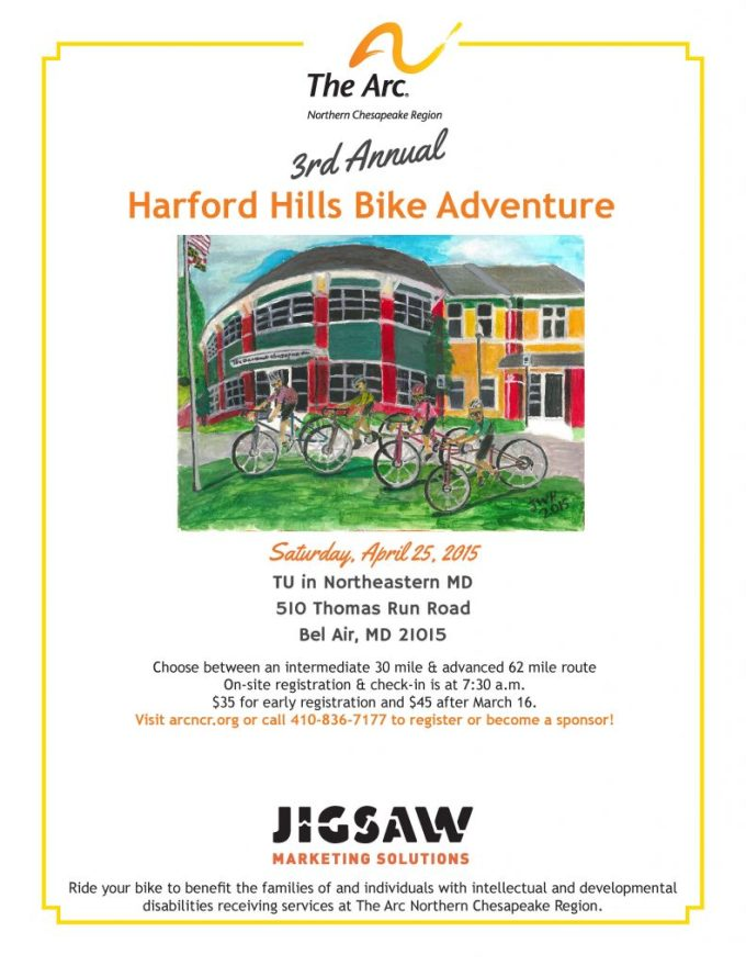 Joe Harter, a client of The Arc NCR, created the artwork for the flyer promoting this year's Harford Hills Bike Adventure.