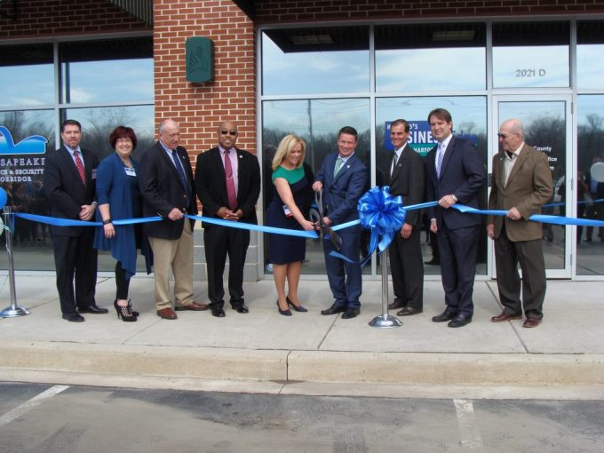 Pictured L to R:  Eric McLauchlin, Economic Development Advisory Board Chair; Jill McClune, Harford's Business Innovation Center President; Patrick Vincenti, Councilman District E; Curtis Beulah, Councilman District F; Karen Holt, Economic Development Director; Barry Glassman, Harford County Executive; Billy Boniface, Director of Administration; Chad Shrodes, Councilman District D; Richard Slutzky, Council President