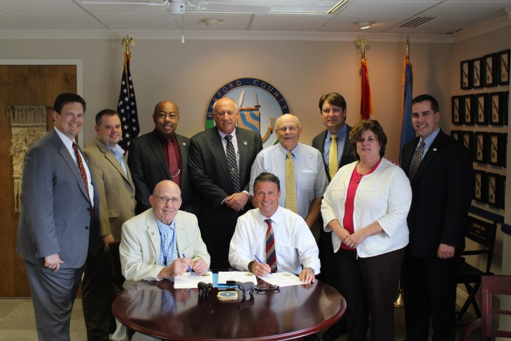 "Photo caption: Seated, L to R: Council President Richard C. Slutzky, County Executive Barry Glassman Standing, L to R: County Treasurer Robert F. Sandlass, Councilman Joe Woods, Councilman Curtis L. Beulah, Councilman Patrick S. Vincenti, Councilman James ""Capt'n Jim"" McMahan, Councilman Chad Shrodes, County Budget Chief Kimberly K. Spence, Councilman Mike Perrone Jr."