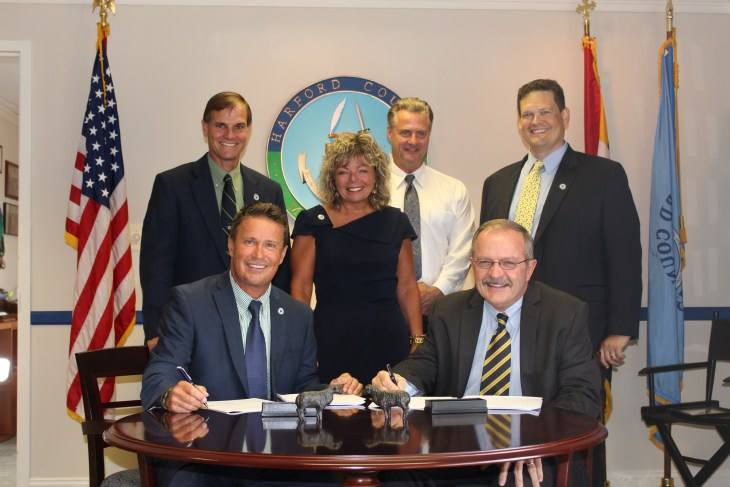 Pictured L to R: Seated – County Executive Barry Glassman, MES Director James M. Harkins Standing – County Director of Administration Billy Boniface, County Attorney Melissa Lambert, County Department of Public Works Director Timothy Whittie, County Treasurer Robert Sandlass Jr.