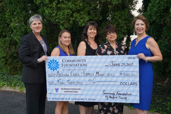 Kim Malat, chair, Grants Committee, Women's Giving Circle of Harford County; Nicole Merrill, transitional living therapist, Arrow Crossroads Community; Melody Baker, program director, Arrow Crossroads Community; Arlene Gomez, associate vice president, Arrow Child & Family Ministries; and Jodi Davis, chair, Women's Giving Circle of Harford County, gather at a recent grant presentation to Arrow Child & Family Ministries. (Photo Courtesy of Community Foundation of Harford County)