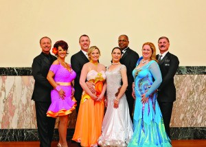 : Some of this year's Dancing for the Arts contestants and their partners. The event challenges local citizens to learn and perform a ballroom dance as a fundraiser for the Center for the Arts. Pictured left to right: Instructor Tom Rzepnicki of Dancing with Friends Studio and Kathy Heidelmaier of It's Payday; Bob Rich of Saxon's Jewelers and Linda Rich of Exit Preferred Realty; David Lockhart of Boeing and Instructor Natasha Pollock of Dancing with Friends Studio; Chris Moore of the Zayo Group and Lynn Moore, Creative Consultant. Photo Credit: Alana Beall www.vanitysedgedesign.com