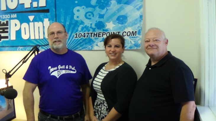 Pictured L to R: Rich Bennett, Host and Owner of Harford County Living, Sarah Coleman of Four Seasons Nursery and Landscape Services and Larry Delbridge of Towne Grill and Pub