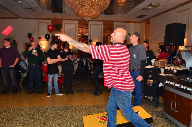 Cornhole game in the middle of the dance floor was a hit. Photo courtesy of Howard Smith.