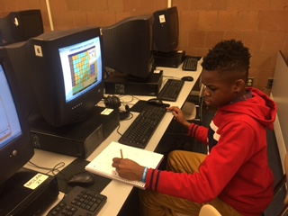 Jabary Serrio practices math skills in First in Math