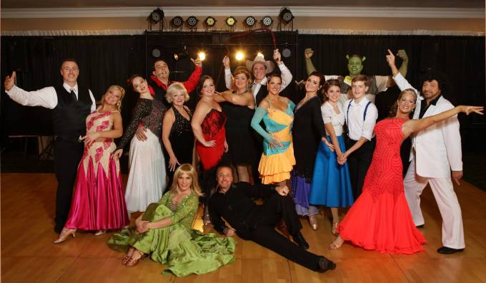 "The ""celebrity"" dancers pose after their performance at the 2015 Dancing for the Arts Gala. Dance instructors Natasha Pollock and Tom Rzepnicki (seated in front) are working with a new group of citizens for this year's show."
